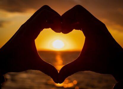Hearts at sunset